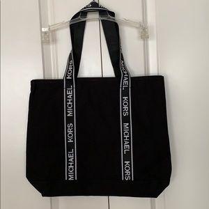 NWT Michael Kors Black Canvas Tote Branded Straps
